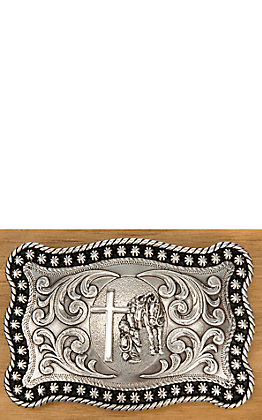 Nocona Silver with Praying Cowboy Horse and Cross Rope Edge Rectangular Buckle