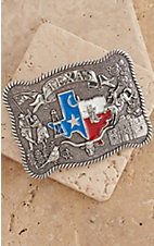 Nocona Silver Rectangle Texas Flag Belt Buckle