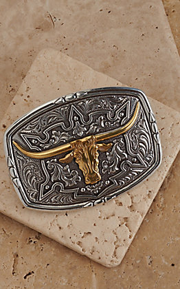 M&F Western Products Rectangular Buckle with Gold Steer