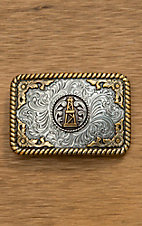 Nocona Silver with Gold Oil Derrick Rope Edge Rectangular Buckle