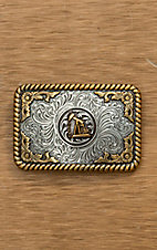 Nocona Silver with Gold Oil Rig Rope Edge Rectangular Buckle