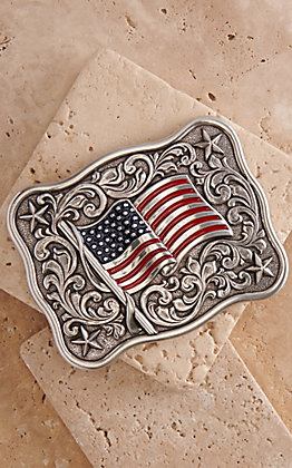 Nocona Rectangle USA Flag with Scrollwork Belt Buckle