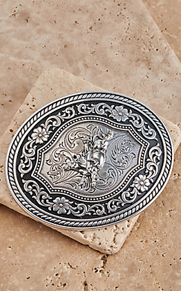M & F Western Silver and Black Bull Rider Oval Belt Buckle