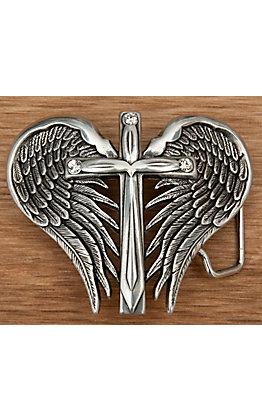 Nocona Silver Winged Cross Belt Buckle