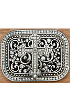 Nocona Silver Rectangle Cross w/ Floral Design & Crystals Belt Buckle 37912