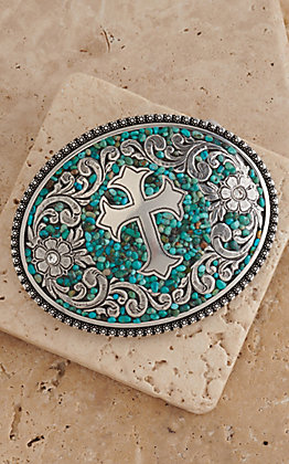 Nocona Turquoise Stones with Silver Cross & Flowers Western Belt Buckle