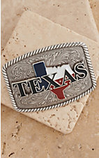 Nocona Silver Rectangle Texas Belt Buckle 37924