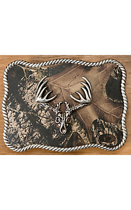 M&F Western Products Camouflage with Silver Deer Skull Rectangle Buckle