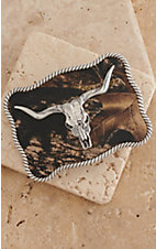 M&F Western Products Camo w/ Silver Longhorn Skull Rectangle Buckle