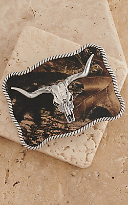 M&F Western Products Camo with Silver Longhorn Skull Rectangle Buckle