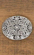 Nocona Antiqued Silver Floral Filigree with Rhinestones Oval Buckle