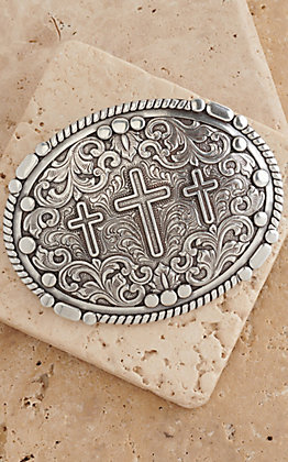 Nocona Silver 3 Cross Oval Buckle
