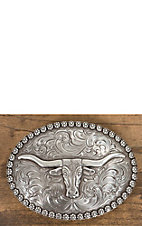 Nocona Antiqued Silver with Longhorn Berry Edge Oval Buckle