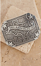 Nocona Silver Republic of Texas Rectangle Buckle