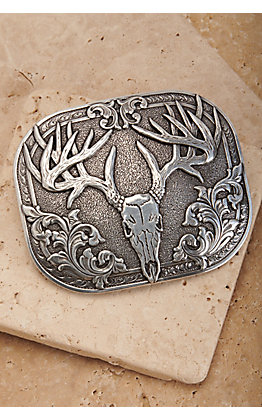 Nocona Silver Skull Rectangle Belt Buckle