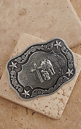 Nocona Silver Praying Cowboy Rectangle Buckle
