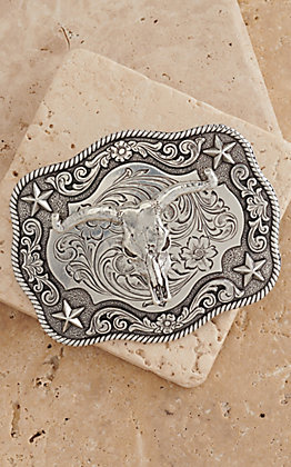 Nocona Silver Steerhead with Stars Western Rectangle Belt Buckle 3798664