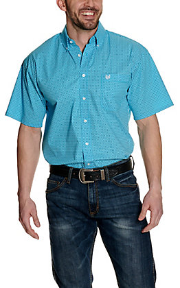 Panhandle Men's Turquoise with Navy Geo Print Stretch Short Sleeve Western Shirt - Cavender's Exclusive