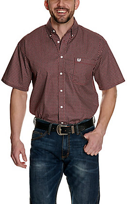 Panhandle Men's Burgundy with Black and White Geo Print Stretch Short Sleeve Western Shirt - Cavender's Exclusive
