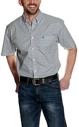 Panhandle Men's White with Turquoise Geo Print Stretch Short Sleeve Western Shirt - Cavender's Exclusive