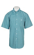 Panhandle Men's Turquoise Geo Print Cavender's Exclusive Short Sleeve Western Shirt