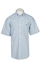Panhandle Men's White and Blue Medallion Print Cavender's Exclusive Short Sleeve Western Shirt