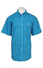 Panhandle Men's Blue Medallion Print Cavender's Exclusive Short Sleeve Western Shirt