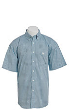 Panhandle Men's Turquoise Diamond Geo Print Short Sleeve Western Shirt