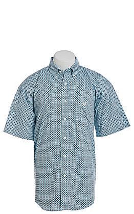 Panhandle Men's Turquoise Diamond Geo Print Short Sleeve Western Shirt