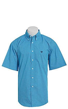 Panhandle Men's Blue Geo Print Short Sleeve Western Shirt