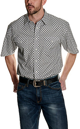 Panhandle Men's Black with White Geo Print Stretch Short Sleeve Western Shirt - Cavender's Exclusive