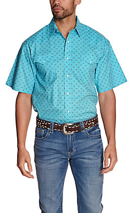 Panhandle Men's Turquoise with White & Brown Geo Print Stretch Short Sleeve Western Shirt - Cavender's Exclusive