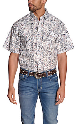 Panhandle Men's White with Navy & Red Paisley Print Stretch Short Sleeve Western Shirt - Cavender's Exclusive