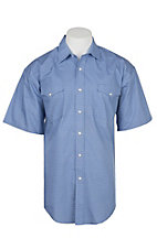 Panhandle Men's Royal Blue Geo Print Cavender's Exclusive Short Sleeve Western Snap Shirt