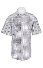 Panhandle Men's White and Camel Medallion Print Cavender's Exclusive Short Sleeve Western Snap Shirt