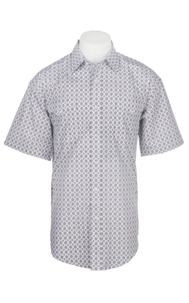 Discount Panhandle Men's White and Camel Medallion Print Cavender's Exclusive Short Sleeve Western Snap Shirt for cheap