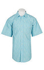Panhandle Men's Light Blue Paisley Print Cavender's Exclusive Short Sleeve Western Snap Shirt