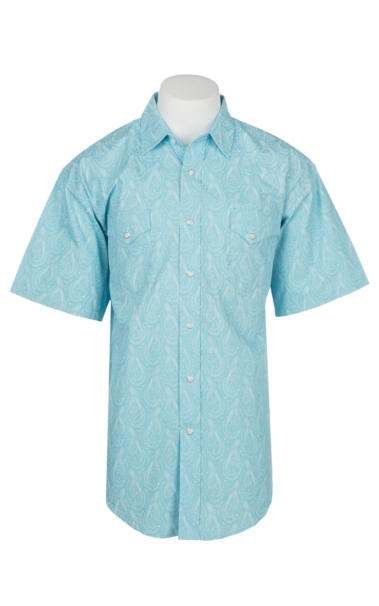 Hot Panhandle Men's Light Blue Paisley Print Cavender's Exclusive Short Sleeve Western Snap Shirt