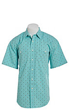 Panhandle Men's Turquoise Geo Print Short Sleeve Western Shirt