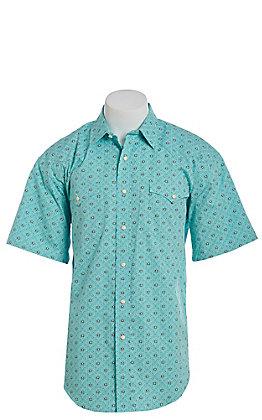 Panhandle Men's Turquoise Geo Print Short Sleeve Western Shirt