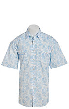 Panhandle Men's Blue Paisley Short Sleeve Western Shirt