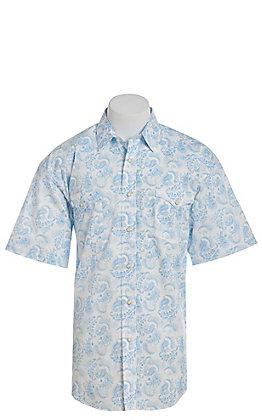 Panhandle Men's Blue Paisley Short Sleeve Western Shirt