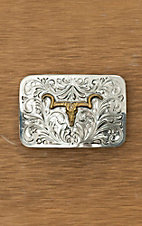 Bar V Ranch by Vogt Silver with Gold Steer Skull Buckle