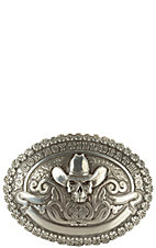 M&F Western Products Skull Cowboy Till Death Silver Oval Buckle