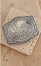 Crumrine Silver White Tail Buck with Western Scroll Rectangle Buckle