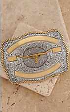 Crumrine Silver with Gold Ribbon & Longhorn Rectangle Buckle