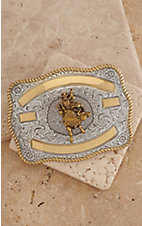 Crumrine Silver with Gold Ribbon & Bull Rider Rectangle Buckle