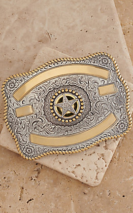 Crumrine Silver with Gold Ribbon & Texas Star Rectangle Buckle