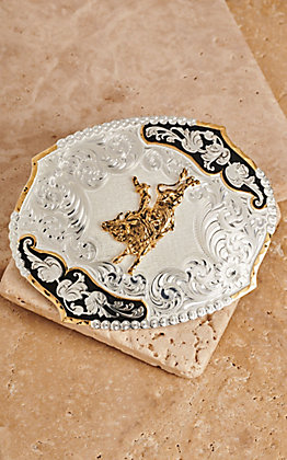 Montana Silversmiths Large Scallop Oval Bullrider Buckle
