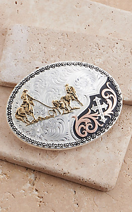 Montana Silversmiths Tri-Color Always in Faith Buckle with Team Roper